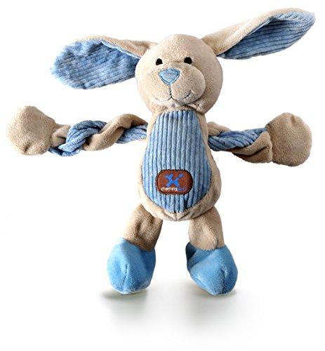 Petstages Pulleez Hundespielzeug Bunny Quietschendes Plüschspielzeug mit Seilen zum Durchziehen