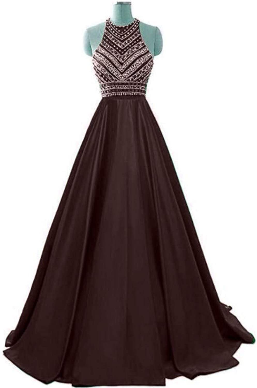Ai Maria Women's Sleeveless Satin Prom Dress Beaded Diamond Round Collar Formal Evening Dress