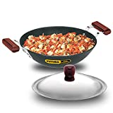 Futura Induction Compatible Hard Anodized Flat Bottom Deep Fry Pan / Kadhai with Stainless Steel...