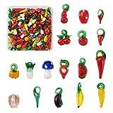 PandaHall 200 cuentas de cristal hechas a mano Lampwork para frutas y verduras Tema espaciador de vidrio cuentas sueltas para pulsera, collar, joyería, manualidades