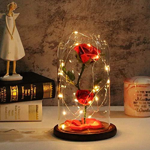 DISEÑO DE DOBLE ROSA: diseño único de doble rosa con un mejor sentido del amor. Es una rosa eterna que nunca se desvanece. ROSA BRILLANTE: el material brillante se agrega a la parte superior de la rosa, combinado con la suave iluminación del LED, tie...