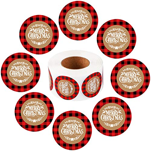 Ruisita 600 Pieces Merry Christmas Stickers Buffalo Plaid Self Adhesive Seals Labels Holiday Seals Stickers for Christmas Favor Gift Cards Envelopes Seals