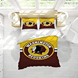 American Football Washi-ngton Red-Skins Duvet Cover Set Queen Size Printed Decorative Bedding Soft and Breathable Quilt Cover with Four Corner Straps