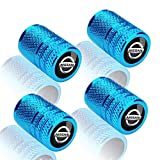4 PCS Metal Universal Tire Valve Stem Caps for Cars,Motorcycles,Bicycles with for Nissan Versa Sentra Altima Rogue Murano Frontier Pathfinder Titan Series,Styling Decoration Accessories,Blue