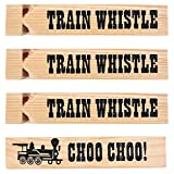 Wooden Train Whistles (Pack Of 12) Train Whistle for Kids Train Themed Party Favors, Noisemaker, Small Prize, Stocking Stuffers
