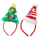 2 Pcs Lighted Christmas Headbands with LED lights in Springy Santa Hat& Christmas Tree Designs for Christmas and Holiday Parties (ONE SIZE FIT ALL)