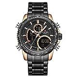 xiaoxioaguo Reloj de hombre de lujo marca grande esfera deportiva reloj cronógrafo cuarzo fecha reloj hombre reloj de hombre rosa dorado negro