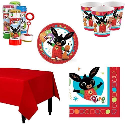 BIGIEMME S.R.L. Kit Coordinato per Feste E Compleanno Coniglietto Bing (Piatti-Bicchieri-tovaglioli-Tovaglia-Bolle di Sapone) (per 32 Persone)