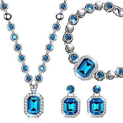 """QIANSE """"Countess"""" Necklace Bracelet and Earrings Jewelry Set Made with Swarovski Crystals - Elegant and Mysterious!"""