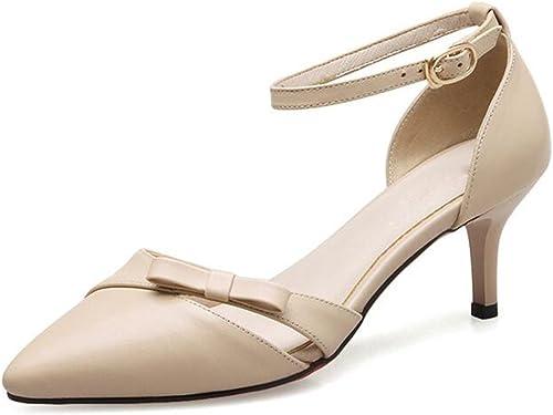 MuMa Escarpin Sandales Femme Nouveau Pointu Chaussures Féminines Féminines Féminines Blanc à Talons Chaussures Femmes Nu Couleur Bow Chaussures De Mariage en Cuir Chaussures (Couleur   Abricot, Taille   EU36 UK3.5 CN35) 029
