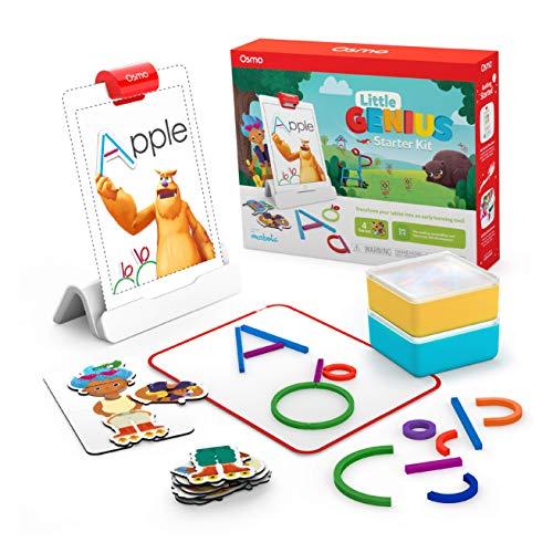 Osmo 901-00015 Little Genius Starter Kit 4 Giochi Apprendimento Hands-On età prescolare Risolvere Problemi Base iPad Creativity Incluso