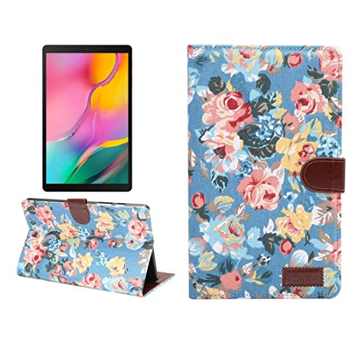 YUNCHAO Dibase Flower Pattern Cloth Surface Horizontal Flip PC + PU Leather Case with Holder & Card Slots & Sleep/Wake-up Function For Galaxy Tab A 8.0 inch (2019) / T290 / T295 (Color : Blue)