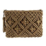 FENICAL 1PC Cute Cotton Woven Handbag Hollow Clutch Bag with Tassel for Summer Beach Women Military Green