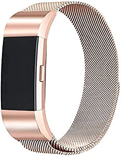 Compatible for Fitbit Charge 2 Bands, Milanese Stainless Steel Mesh Magnetic Metal Bands Replacement Bracelet Strap for Women Men (Small, Rose-Gold)