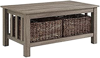 Rustic Wood Rectangle Coffee Accent Table Storage Baskets Living Room