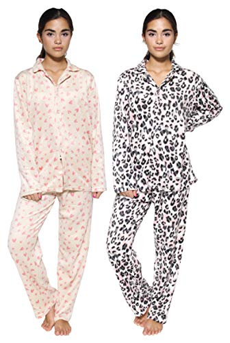 2 Pack: Womens Pajama Sets Soft Cotton Fleece Pajamas Women Ladies Thermal Loungewear Printed Long Sleeve Button Down Tops Warm Lounge Winter Pants Bottoms Christmas Sleepwear Pjs Set - Set 9, Medium