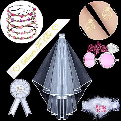 Junggesellenabschied Frauen Jga Accessoires Braut Bride to Be +5 Blumenkranz+5 Tattoos Junggesellinnenabschied Frau Enthält Schleier Schärpe Krone Brille für Brautparty Krawatten
