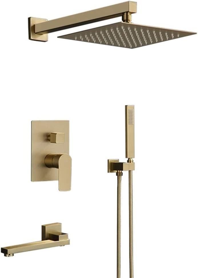 JF-XUAN Hand held 5 popular Concealed Shower Mixer Gold Brushed Waterfall Ranking TOP11