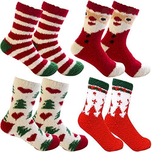 ZSWQ 4 Pares Calcetines para Navideños Calcetines de Felpa Coloridos,Invierno Calcetines de Mujer Bowknot Regalo Navidad Calcetines para mujer niña novia Regalo de cumpleaños de San Valentín