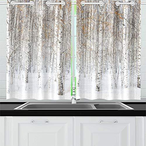JINCAII Russische Winterlandschaft weiße Birken Küche Vorhänge Fenster Vorhang Stufen für Café, Bad, Wäscheservice, Wohnzimmer Schlafzimmer 26 x 39 Zoll 2 Stück