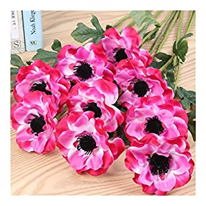 JiaQinHe Remains 10pcs/Lot Artificial Single Head Anemone/Flower Home Living Room Decoration Fake Flower Wedding Scene Layout Photo Props Never