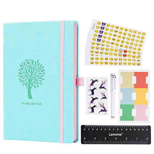 Dotted Bullet Journal/Dotted Notebook - Lemome Punktierte Nummerierte Seiten Hardcover A5 Notizbuch mit Stifthalter - Premium Dickes Papier + Bonus Geschenke (Mint Green)