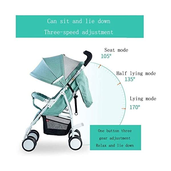 LAMTON Baby Stroller for Newborn, Baby Pushchair,Folding Summer Stroller Lightweight Infant Travel Buggy,80 * 48 * 28/cm (Color : Gray) LAMTON Adjustable handlebars for people of all heights can adjust the most comfortable push position Easy to fold, can be picked up in the trunk of the car, his parents urge him to go shopping, travel, walk, play and talk, or picnic outdoors ★ The weight is 5.2kg,Folded size:80*48*28/cm(31.5*19*11/inches) 6