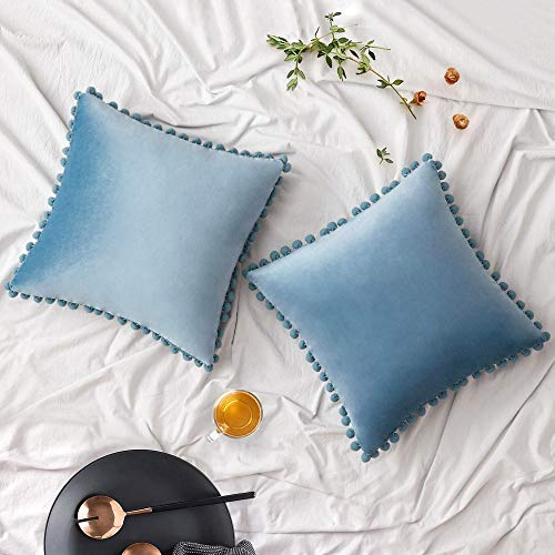 Woaboy Pack of 2 Velvet Throw Pillow Covers Pompom Decorative Pillowcases Solid Soft Cushion Covers with Poms Square for Couch Living Room Sofa Bedroom Car 18x18inch 45x45cm Light Blue
