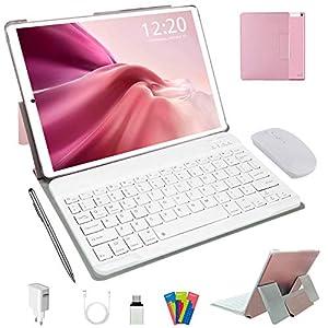 Tablet 10 Pulgadas Android 10.0, 4G LTE Tablets, 4GB de RAM y 64 GB/Scalabile a 128 GB, Dobles SIM, GPS, WiFi, 8000mAH,Teclado Bluetooth, Ratón, Funda para Tableta y Más Incluidos (Plata) (Rosa)