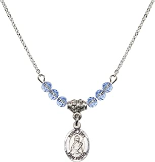 18-Inch Rhodium Plated Necklace with 6mm Sapphire Birthstone Beads and Sterling Silver Saint Christopher//Volleyball Charm.
