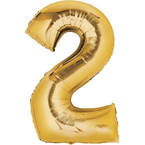 Top Ten Folienballon 80cm Gold Zahlenballon, Luftballon, Geburtstag, Zahl für Helium und Luftfüllung geeignet (Zahl: 2)