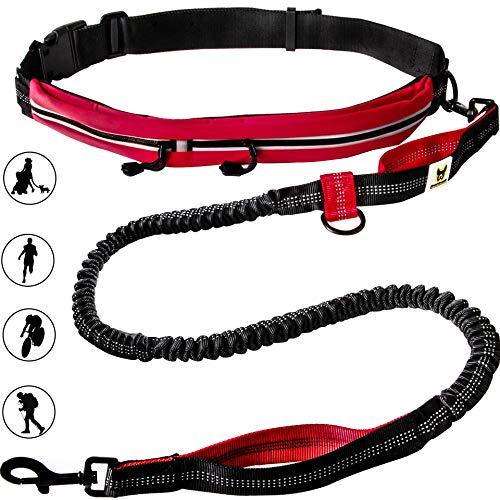 Hundefreund Joggingleine mit Laufgürtel Rot | Elastische Hundeleine 120 bis 180 cm für mittlere und große Hunde | Freihändig Joggen Laufen Radfahren Wandern