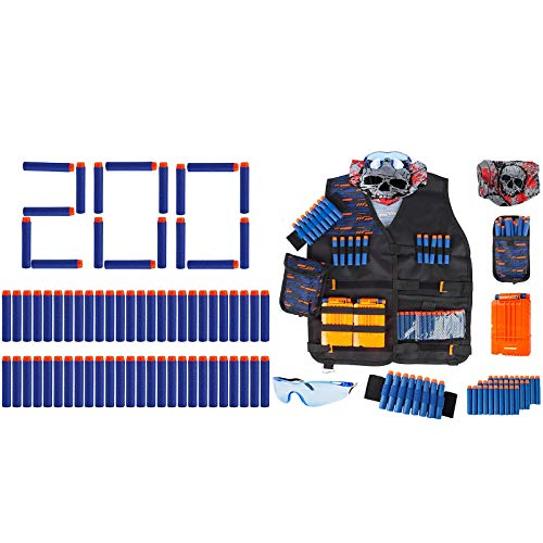Little Valentine 200-Dart Refill Pack + Kids Tactical Vest Kit for Nerf Guns N-Strike Elite Series