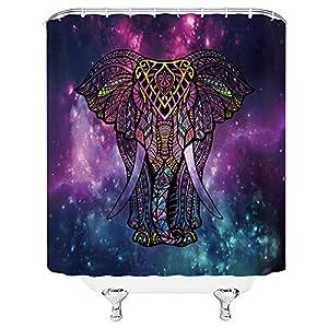 Elephant Shower Curtain Batik Indian Animal Mandala Bohemia Ethnic Boho Starry Sky Colorful Nebula Home Bathroom Decor Quick Dry Fabric with 12 Hooks?70x70 Inch?Blue Purple