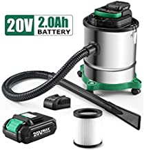 Cordless Ash Vacuum with 3.5 Gallon Portable Vacuum with Metal Lined Hose, Motor Filter, and Canister Filter for Fireplaces, Wood Stoves, Ash Collectors, and Pellet Stoves