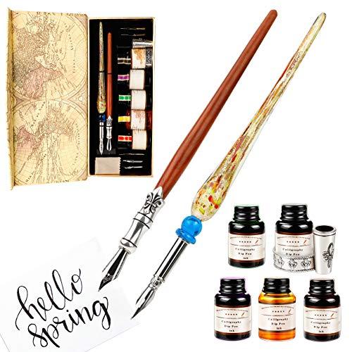 Kalligraphie Stifte Tinte Set, GCQUILL Dip Pen Schreibfeder mit 2 Stifte & 5 Flaschen Tinte und Geschenkbox für Anfänger Geburtstagsgeschenk