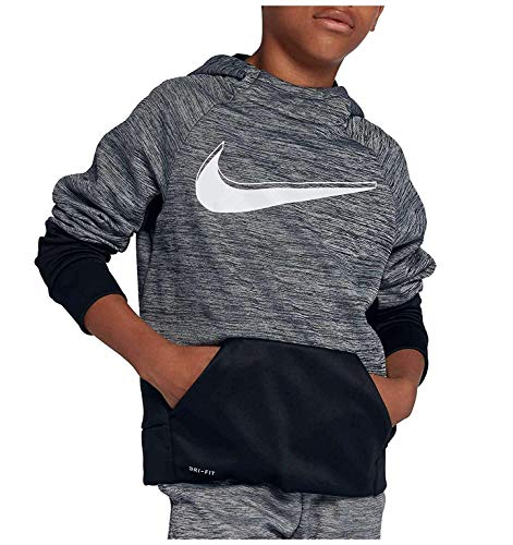 Nike Youth Boys Athletic Dri fit Pullover Performance Therma Hoodie (XL 18) Black