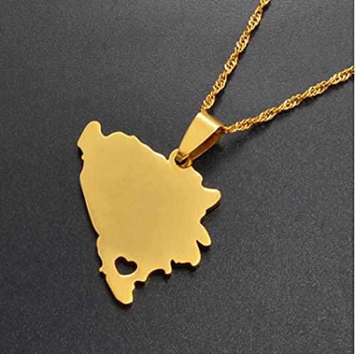 NC110 Mapa de Bosnia y Herzegovina Collares Pendientes Mujer Oro/Plata Color Encanto mapas bosnios joyería Regalos patrióticos YUAHJIGE