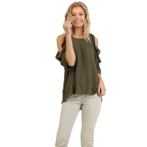 670f43bf2fb513 Umgee Women s Solid Colored Cold Shoulder Tunic with Ruffle Details