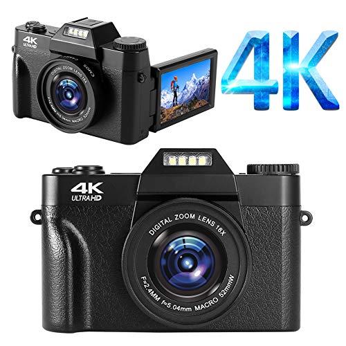 YinFun Digitalkamera 4K Fotoapparat Digitalkamera 48MP Kamera 16X Digitalzoom Kompaktkamera Minikamera Schwarz