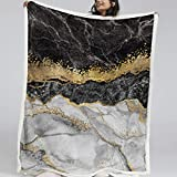 Blessliving Black White Gold Foil Marble Pattern on Throw Blanket Marble Abstract Fleece Blanket Modern and Fashion Blankets (Throw, 50 x 60 Inches)