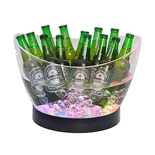 Hielo Cubo de Champán, Colorido LED Luz Ice Bucket 8L de Alta Capacidad 7 Colores cambiantes Champagne Vino Bebidas Cerveza Hielo Enfriador Curva Diseño Bar Club Pub