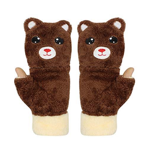Niedliche Katzen-Bär-Handschuhe aus Plüsch, zum Aufklappen, fingerlos, warm, für den Winter, weiche Fäustlinge für Mädchen und Teenager