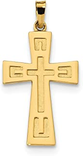 16.78mm 14ct Polished and Satin Geometric Cross Pendant