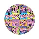 YOKJLDH Reloj de pared de PVC con diseño de pantera rosa para decoración del hogar, funciona con pilas, redondo, fácil de leer en el hogar/oficina/escuela