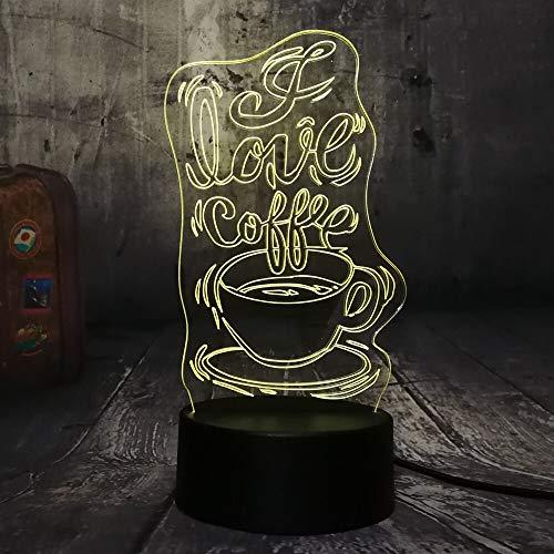 La hora del café hermosa lámpara de mesa 3D multicolor LED luz de noche decoración de acrílico regalo