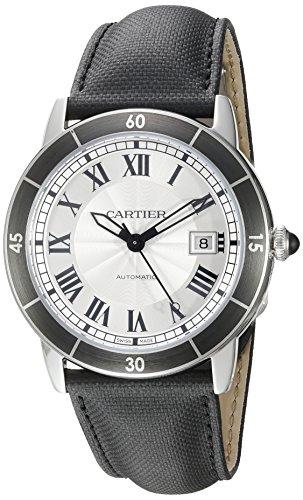 Cartier 'Croisiere de los Hombres automático Reloj Casual de Cuero y Acero Inoxidable, Color: Negro (Modelo: wsrn0002)
