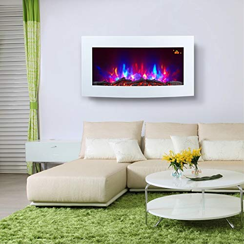 TruFlame 7 Colour Side LEDs Wall Mounted 88cm Wide Arched White Glass Electric Fire with Log Effect Electric Fire