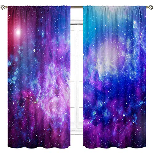 Cinbloo Galaxy Curtains Rod Pocket Universe Planet Outer Space Star Sky Starry Psychedelic Waterproof Art Printed Living Room Bedroom Window Drapes Treatment Fabric 2 Panels 42 (W) x 63(L) Inch