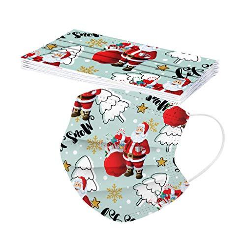 10 Unidades Adulto 𝐌𝐚𝐬𝐜𝐚𝐫𝐢𝐥𝐥𝐚𝐬 Desechable con Estampado de Navidad Papá Noel, 3...